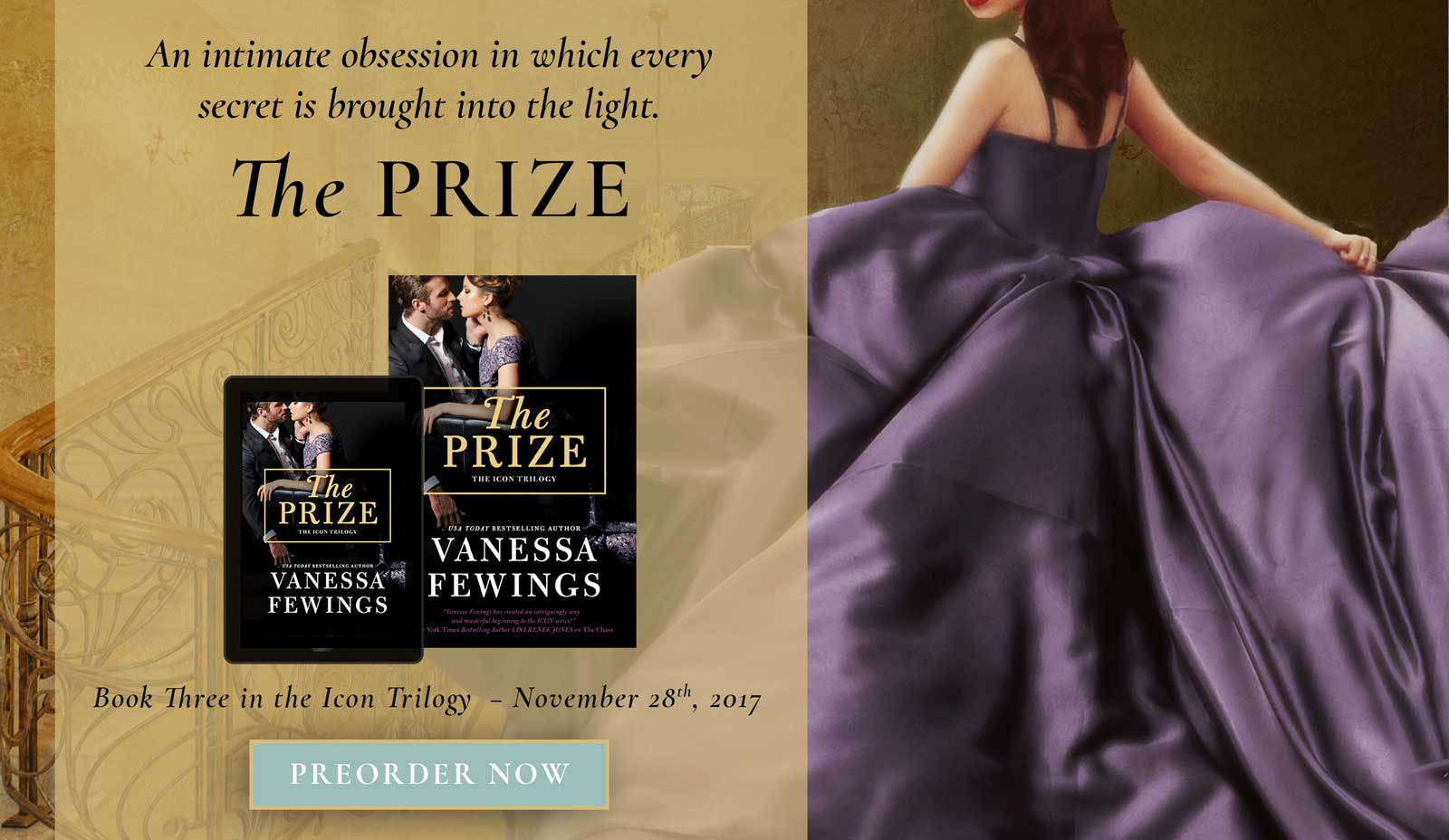 The Prize, the final book in the Icon Trilogy by USA Today Bestselling romance author Vanessa Fewings